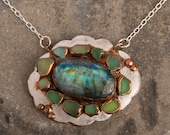Labradorite & Sea Glass Statement Pendant Necklace - Silver and Copper Mixed Metals Jewelry - Nature Inspired Ocean Jewelry