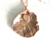 Seashell and Sea Glass Pendant - Copper Electroformed Shimmery Shell - Ocean Inspired Jewelry