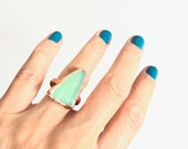 Sz6 Light Green Sea Glass Copper Ring size 6 - Nature Inspired Ocean Beach Jewelry - Recycled and Sustainable