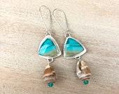 Ocean Landscape Wood Opal Shell Silver Earrings - Nature Inspired Unique Jewelry