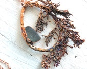 Algae and Sea Glass Nature Inspired Statement Pendant - Handcrafted Electroformed Jewelry - Ocean Inspired