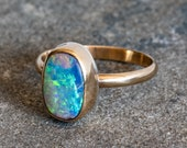 Australian Pipe Opal Gold Ring - Gold Fill Band & Bezel - Genuine opal - Crystal Pipe Opal Ring - Alternative Wedding Ring - Gold Opal Ring