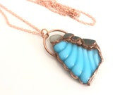 Ocean Sea Glass Aqua Blue Copper Statement Pendant - Long Necklace - Electroformed Nature Inspired Jewelry