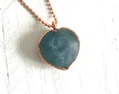 Blue Fluorite Heart Pendant - Statement Necklace - Copper and Stone - Organic Materials - Ocean Inspired Natural