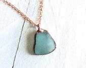 Seafoam Aqua Blue Sea Glass and Copper Electroformed Pendant - Teal Rose Gold Necklace - Beach Boho Style