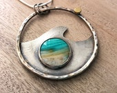 Wood Opal Silver & Gold Wave Pendant - Ocean Landscape - Beach Scene Necklace - Nature Inspired Jewelry