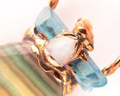 Fluorite Moonstone and Aura Crystal Necklace - Nature Inspired Stone and Seashell Jewelry - Electroformed Copper