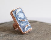 Boho Statement Ring - Vintage Sea Tile Ring - Sea Pottery Ring - Blue Chunky Ring - Copper Ring