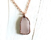 Light Pink SEA GLASS and Copper Pendant - Rose Gold Necklace - Nature Inspired Electroformed Jewelry