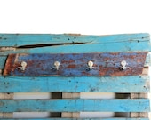 Reclaimed Boat Wood Coat Rack / Towel Hook Blue and Red Old Vintage Materials Driftwood
