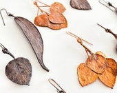 Copper Leaf Earrings - Nature Inspired Statement Earrings Made with REAL Leaves - Aspen and Willow Tree