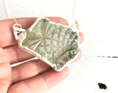 Textured Light Green SEA GLASS Unique Pendant - Electroformed Silver Jewelry - Nature Inspired Necklace