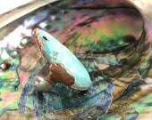 Sz 6.5 Rustic Turquoise Copper and Sterling Silver Ring - Nature Inspired Jewelry