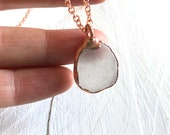 Small Clear Sea Glass Necklace - Copper White Pendant - Rose Gold Nature Inspired Jewelry - Recycled