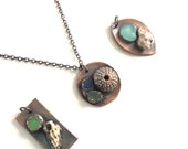 Made to Order Copper Sea Glass and Shell Medallion Necklace - Blue Teal Green Beach Glass - Electroformed Simple Pendant Nature Inspired