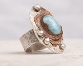 Funky Larimar Silver and Copper Ring - Wide Band size 7 - Hammered Rustic Ring with Blue Stone