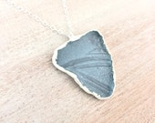 Cornflower Blue Sea Glass Textured Silver Pendant - Rare Recycled Glass - Fine Silver Nature Inspired Ocean Jewelry Necklace