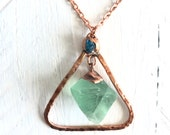 Fluorite and Apatite Long Necklace - Hammered Copper Triangle - Green Blue Raw Stone - Nature Inspired Pendant Unique