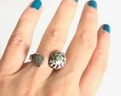 Sz6 Seashell and Natural Stone Open Ring - Size 6 Nature Inspired Organic Jewelry Electroformed Copper