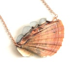 White Sea Glass and Half Scallop Shell Copper Statement Necklace - Mermaid Jewelry - Electroformed Ocean Inspired