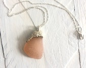 Pink Sea Glass and Silver Pendant Necklace - Electroformed Jewelry - Boho Mermaid Style