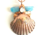 Scallop Shell Aura Crystal and Moonstone Copper Statement Necklace - Electroformed Jewelry Pendant - Ocean Inspired