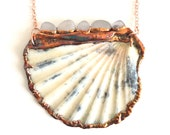 Scallop Shell and Sea Glass Statement Necklace - Genuine Organic Materials - Nature Inspired - Unique Rare Art Jewelry