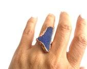 Sz 5 1/2 Cobalt Blue Sea Glass Statement Ring - Boho Mermaid Ocean Jewelry