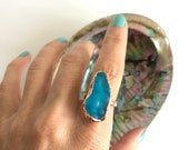 Sz 7 Electric Blue Sea Glass Bubbles Ring - Electroformed Nature Inspired Jewelry
