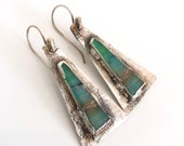 Green Blue Wood Opal Silver Earrings - Electroformed Nature Inspired Jewelry - Totally Unique Artisan Made