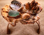 Tide Pool Art Bracelet Cuff - Copper Sea Glass Abalone Barnacles Oyster Shell - Natural Materials Nature Inspired - Organic Mermaid Jewelry