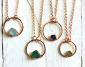 SEA GLASS Circle Necklace - Simple Minimalist Jewelry - Rose Gold Lime Green Blue Teal