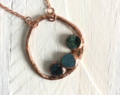 Purple Green Druzy Copper Circle Necklace - Art Pendant Drusy - Nature Inspired Jewelry