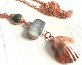 Drusy Sea Glass and Seashell Statement Necklace - Long Pendant - Nature Inspired - Organic Materials - Natural Shell Copper