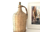 Woven Wicker Cased Vintage Demijohn Carboy from Portugal - Large Wine Bottle