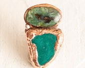 Green Statement Ring Wood Opal Malachite - Nature Inspired Electroformed Jewelry Size 8.5