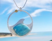Ocean Wave Larimar Silver and Gold Pendant Statement Necklace - Art Jewelry - Handcrafted Blue Stone Necklace