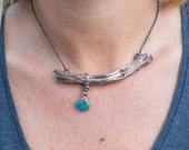 Copper Sagebrush Mohave Turquoise Necklace - Nature Inspired Mountain Jewelry - Electroformed Rustic Wood Necklace