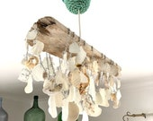 Driftwood Sea Glass and Seashell Light Fixture - Handcrafted Shell Chandelier Made with Reclaimed Materials