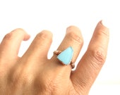 Sz 7 1/2 Aqua Blue Sea Glass Ring - Flash Glass Copper and Silver - Ocean Inspired Jewelry - Turquoise Boho Beach Style