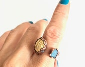 Sz7 Clam Shell and Turquoise Sea Glass Double Stone Open Copper Ring - Real Shell and Genuine Beach Glass - Nature Inspired Size 7