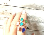 Custom Sea Glass and Copper Double Stone Open Ring - Nature Inspired Jewelry - Electroformed