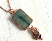 Blue Quartz and Shell Long Necklace - Statement Jewelry - Organic Materials Ocean Inspired