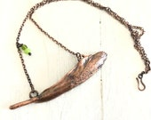 Feather Boho Necklace with Green Glass Beads - Real Feather Electroformed in Pure Copper - Nature Inspired Jewelry