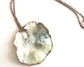 Delicate White Seashell and Copper Necklace - Nature Inspired - Ocean Jewelry