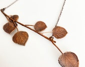 Aspen Leaf Necklace - Nature Inspired Mountain Jewelry - Rustic Boho Statement Jewelry