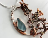 Teal Art Sea Glass and Algae Pendant Necklace - Silver and Copper Electroformed Jewelry - Ocean Inspired