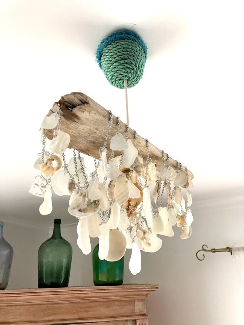 best service f3be0 a0758 Driftwood Sea Glass and Seashell Light Fixture - Handcrafted Shell  Chandelier Made with Reclaimed Materials