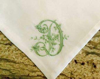 Set of Six White Cotton Dinner Napkins with Floral Vine Monogram