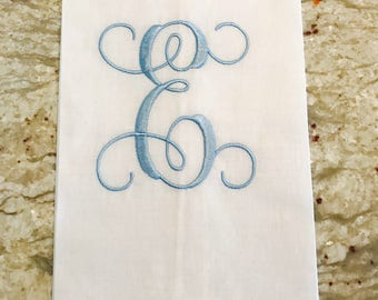 White Linen Guest Towel with Single Initial Monogram